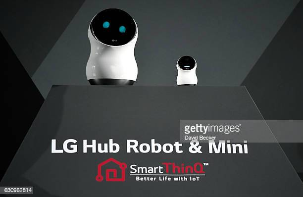 The LG Hub Robot and Mini are displayed at a LG press event for CES 2017 at the Mandalay Bay Convention Center on January 4 2017 in Las Vegas Nevada...