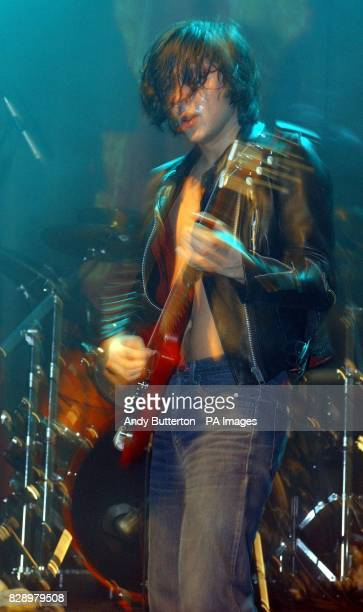 The Libertines' Carl Barat performs during the Love Music Hate Racism ANL Searchlight Benefit concert at The Astoria in central London