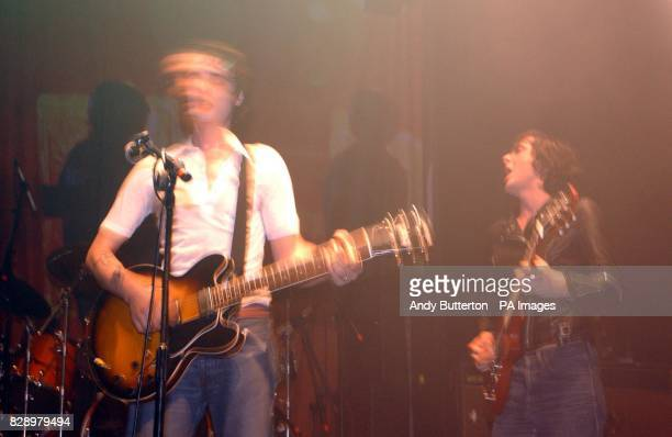 The Libertines frontman Pete Doherty and Carl Barat perform during the Love Music Hate Racism ANL Searchlight Benefit concert at The Astoria in...