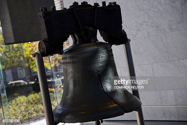 The liberty bell is seen as voters head to the polls in Philadelphia Pennsylvania on election day November 8 2016 America's future hung in the...