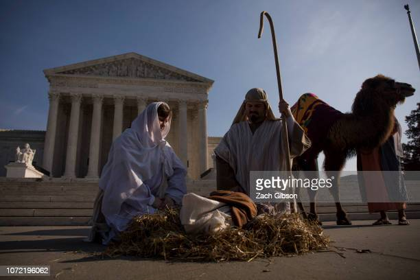 The Liberty Counsel stages a live nativity scene outside of the US Supreme Court on December 12 2018 in Washington DC Faith and Liberty Liberty...
