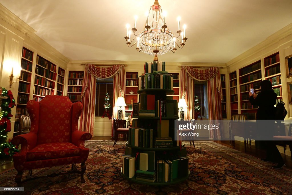 The library at the White House during a press preview of the 2017 holiday decorations November 27, 2017 in Washington, DC. The theme of the White House holiday decorations this year is 'Time-Honored Traditions.'