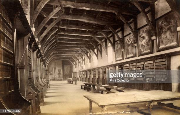 The Library Durham Cathedral' 1893 The Romanesque cathedral in Durham dates almost entirely from the 12th century It was a medieval site of...
