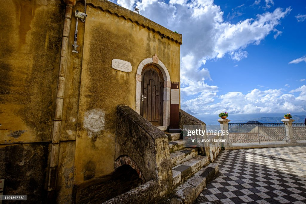 The library in castelmola,Taormina,Sicily,Italy : Stock Photo
