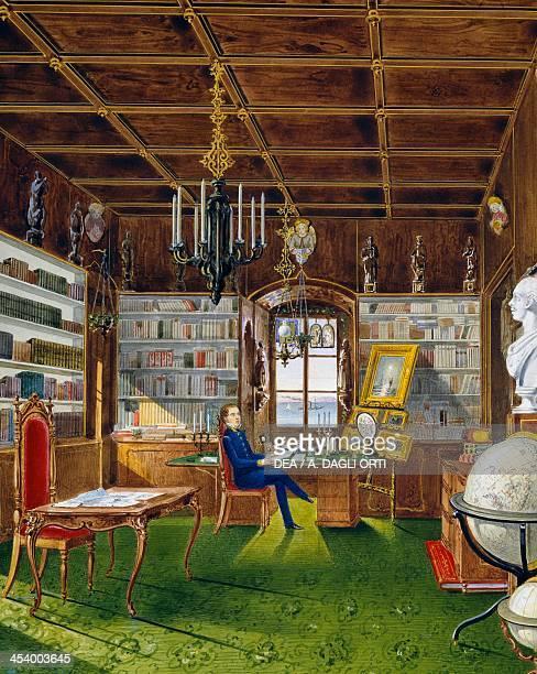 The Library in Villa Lazarovich Trieste residence of Maximilian of Habsburg tempera by Germano Prosdocimi 1854 19th century Trieste Castello Di...