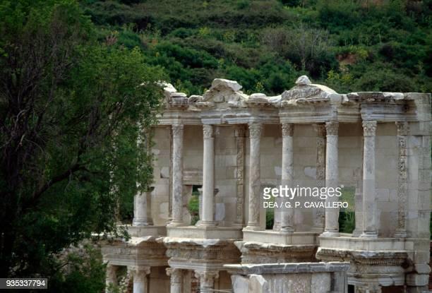 The Library of Celsus 110135 AD built in commemoration of Tiberius Julius Celsus Polemaeanus detail Ephesus Turkey Roman Civilisation 2nd century