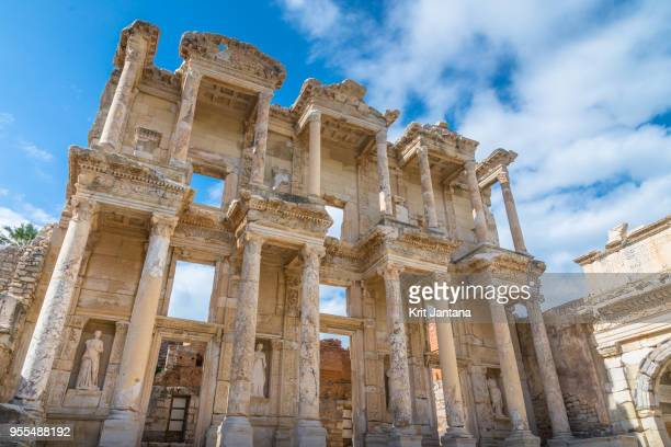 the library of celsus, ephesus, turkey - ephesus stock pictures, royalty-free photos & images