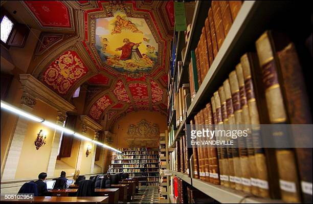 The library of the 'Santa Croce' university of Opus Dei in Rome Italy in April 2006 Here every year 350 priests are trained Theology philosophy as...