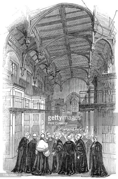 The Library - presentation of the address, Lincoln's Inn New Buildings, 1845. Members of the legal profession in the library at Lincoln's Inn, one of...