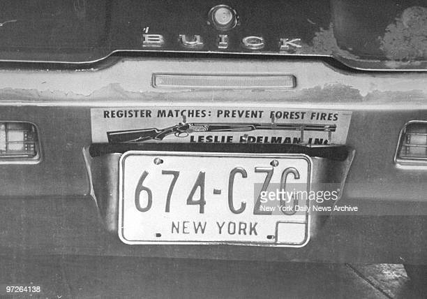 The license plate of the brown 1968 Buick Skylark belonging to Robert Violante who was shot along with his companion Stacy Moskowitz as they sat in...