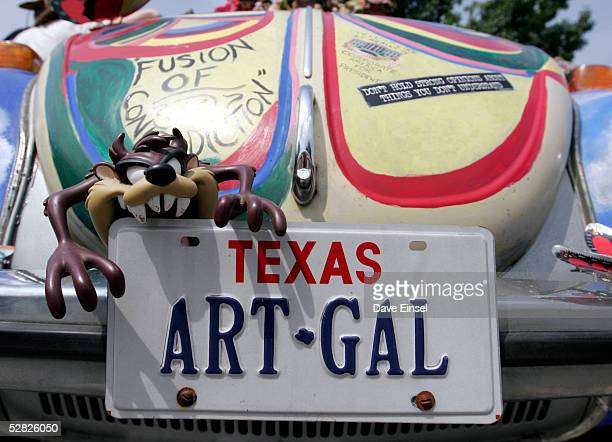 """The license plate says it all on """"Fusion of Contradiction"""" during the Everyone's Art Car Parade May 14, 2005 in Houston, Texas. The parade includes..."""