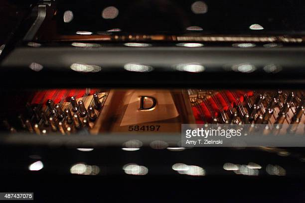 The lid is opened to the model D Steinway piano acquired in 2008 on stage at Turner Sims Concert Hall on the campus of The University of Southampton...