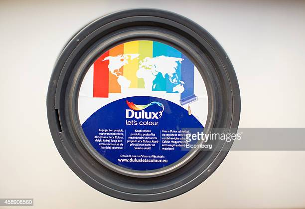 The lid of a tin of Dulux paint manufactured by Akzo Nobel NV sits on display at the company's headquarters in Amsterdam Netherlands on Thursday Nov...
