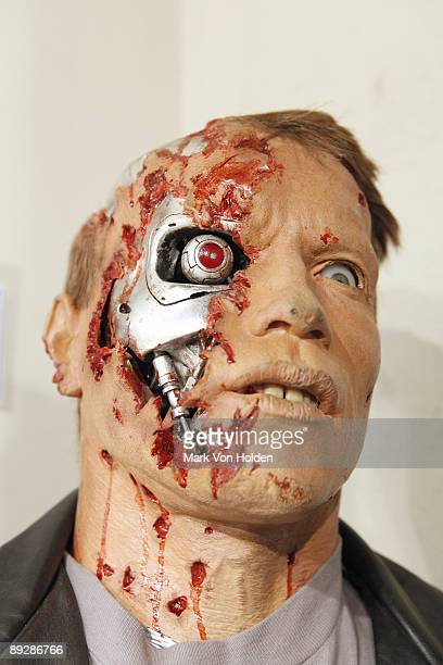 The Life size T800 prop of Arnold Schwarzenegger used in Terminator 2 is displayed at the the Gotta Have It Rock Roll Pop Art Auction Press Preview...