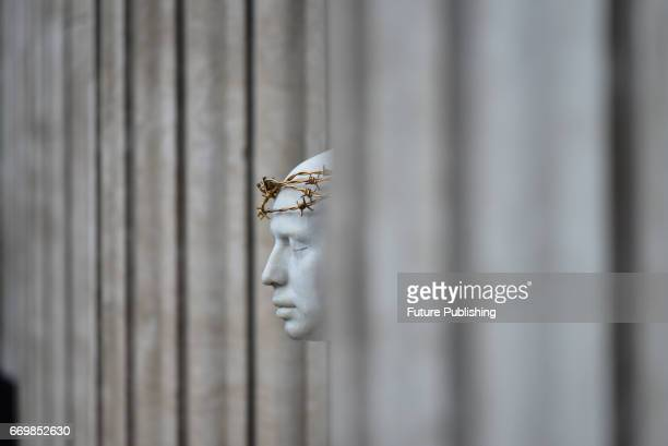 The life sized sculpture of Christ 'Ecce Homo' by artist Mark Wallinger stands outside St Paul's Cathedral on April 18 2017 in London England...
