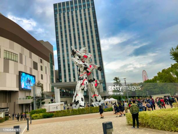 the life-sized unicorn gundam statue - life size stock pictures, royalty-free photos & images
