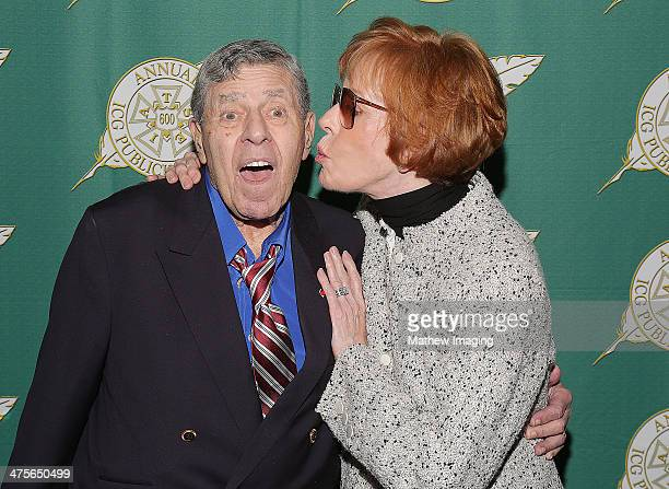 The Lifetime Achievement Award recipient Jerry Lewis and actress Carol Burnett backstage at the 51st Annual ICG Publicists Awards held at the Beverly...