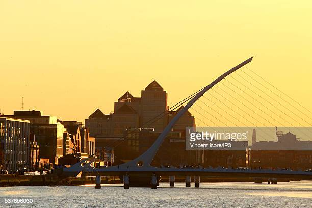 The Liffey River Banks seen at sunset with as foreground the Samuel Beckett s Bridge on April 19 2016 in Dublin Ireland Illustrative picture of the...