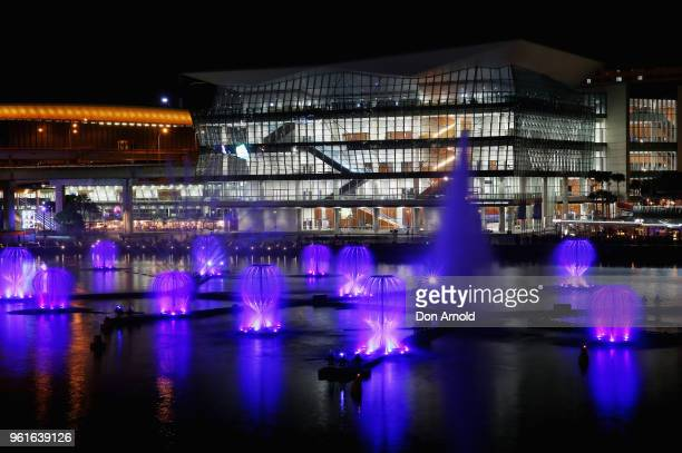 The light and laser installation named 'Fantastic Oceans' is viewed in Darling Harbour during a media preview for Vivid Sydney on May 23, 2018 in...