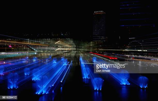 The light and laser installation named 'Fantastic Oceans' is viewed in Darling Harbour during a media preview for Vivid Sydney on May 23 2018 in...