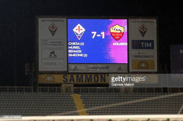 The light board at the 90th minute during the Coppa Italia match between ACF Fiorentina and AS Roma at Stadio Artemio Franchi on January 30 2019 in...
