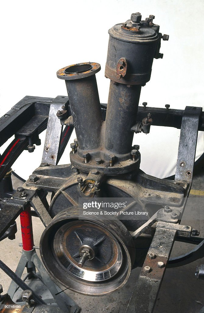 The V2-cylinder engine of a Panhard-Levassor 4 hp motor car, 1894 ...