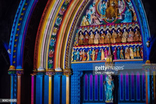 'The Light of the Spirit Chapter 2' by Patrice Warrener at Westminster Abbey Westminster during Lumiere London festival of light 2018 on January 17...