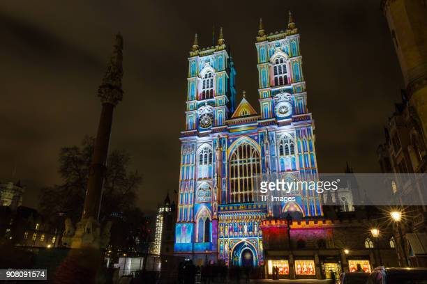 'The Light of the Spirit Chapter 2' by Patrice Warrener is projected onto Westminster Abbey illuminating the West Front of the Abbey'u2019s...