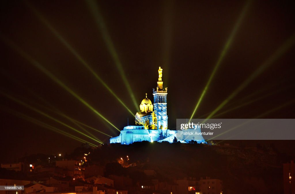 The light show in Marseille for the opening celebration,on January 13, 2013 in Marseille, France.In 2013 Marseille Provence is The European Capital of Culture,this week marks the start of a year long programme of cultural and artistic events being held across the region.