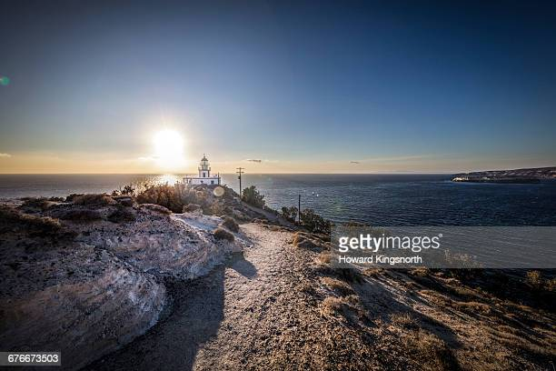 the lighthouse at akrotiri, santorini - akrotiri stock pictures, royalty-free photos & images