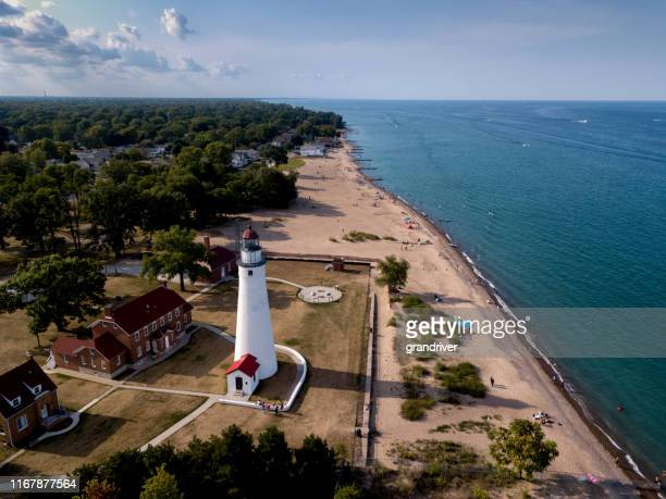 the lighthouse at fort gratiot in port huron, michigan, lake huron - michigan stock pictures, royalty-free photos & images