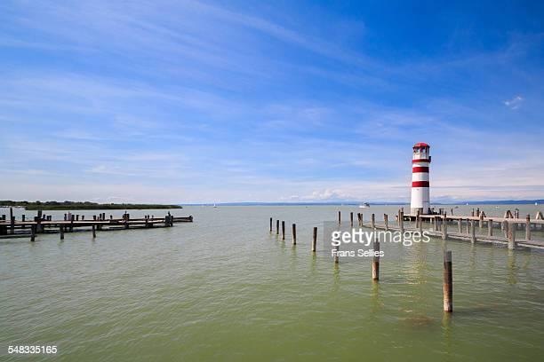 the lighthouse at podersdorf on neusiedler lake - frans sellies stockfoto's en -beelden