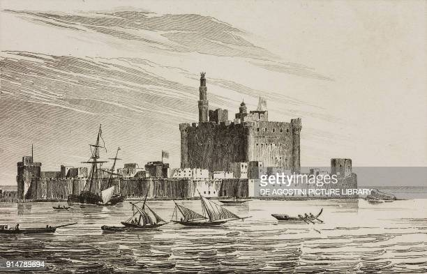 The Lighthouse of Alexandria Egypt engraving by Ollivier from Grece by Francois Pouqueville L'Univers pittoresque Europe published by Firmin Didot...