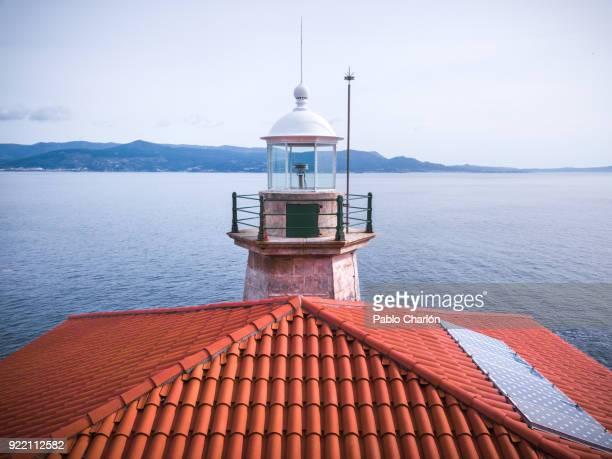 the lighthouse of louro mountain (o faro do monte louro), muros, a coruña, spain - atlantic islands stock pictures, royalty-free photos & images