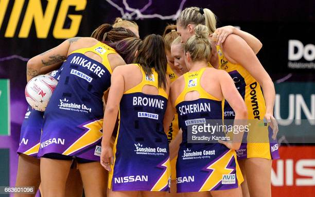 The Lightning during the round seven Super Netball match between the Lightning and the Firebirds at University of the Sunshine Coast on April 2 2017...