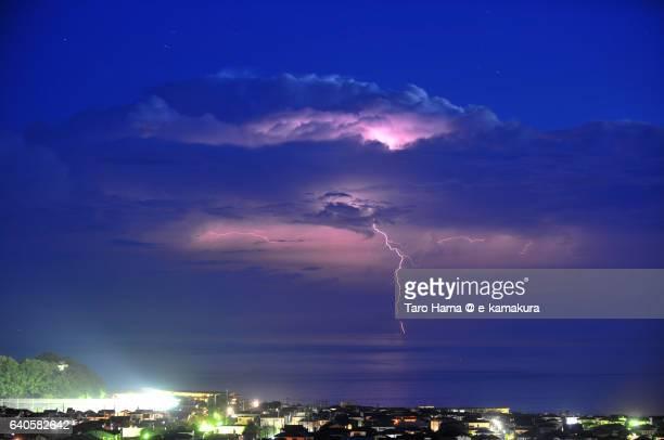 The lightning thunder on the night beach