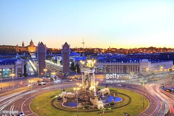 The lights and water of the Magic Fountain at La Fira Montjuic are a great show for my first night in Barcelona The crowds stroll around the...