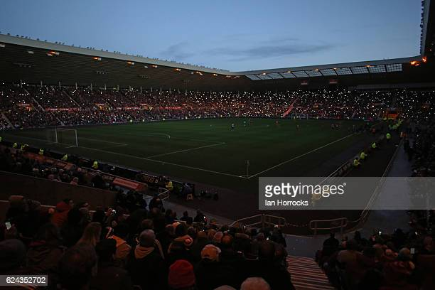 The Lights go out during the Premier League match between Sunderland and Hull City at Stadium of Light on November 19, 2016 in Sunderland, England.