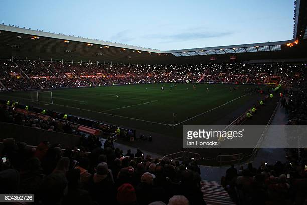 The Lights go out during the Premier League match between Sunderland and Hull City at Stadium of Light on November 19 2016 in Sunderland England
