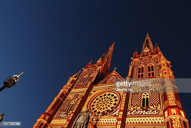 The 'Lights of Christmas' are featured at St Mary's Cathedral on December 17, 2010 in Sydney, Australia. Sydney celebrates Christmas with dazzling...