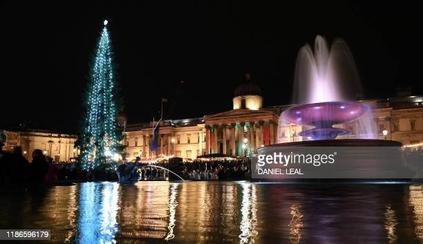 The lights on the Christmas tree twinkle after the lights were switched on during the traditional ceremony in Trafalgar Square in London, on December...