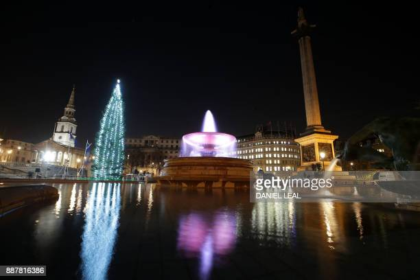 The lights on the Christmas tree twinkle after the lights were switched on during the traditional ceremony in Trafalgar Square in London on December...