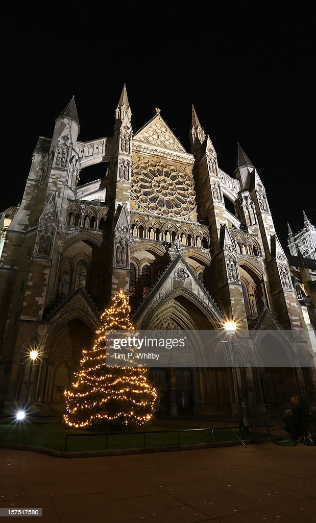 The lights on the Westminster Abbey Christmas Tree are switched on by The Very Reverend Dr John Hall at Westminster Abbey on December 4, 2012 in London, England.
