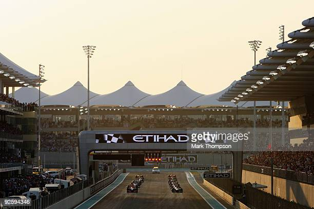 The lights prepare to go out to start the first Abu Dhabi Formula One Grand Prix at the Yas Marina Circuit on November 1 2009 in Abu Dhabi United...