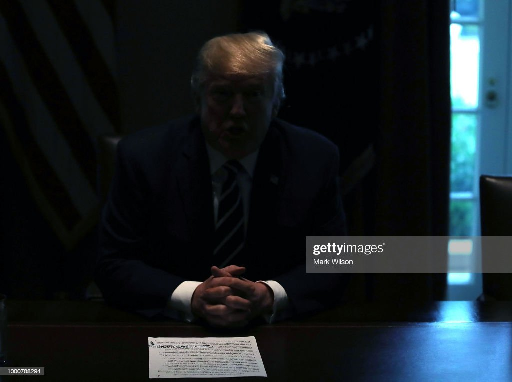 President Trump Meets With Members Of Congress In The White House Cabinet Room : News Photo