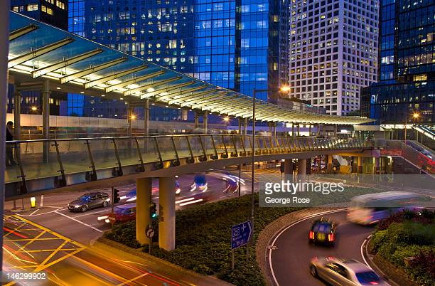 The lights, traffic and pedestrian bridges in the City Centre are viewed at night on May 29 in Hong Kong, China. Viewed as one of the world's major...