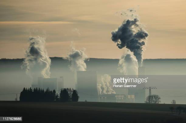 The lignitefired power station of the polish city Bogatynia near the germanpolishczech border triangle is pictured in the morning on February 25 2019...