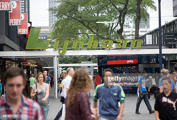 The Lijnbaan opened in 1953 was first purposebuilt pedestrian only shopping street in Europe Rotterdam Netherlands