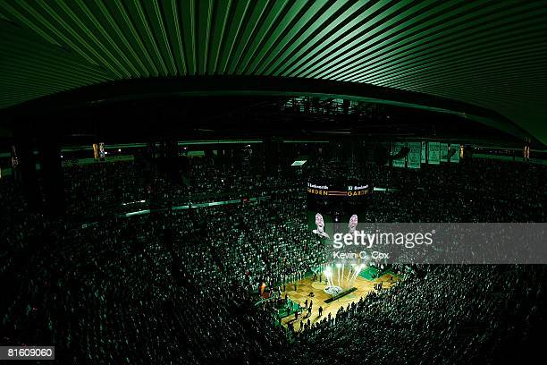 The likeness of Kevin Garnett of the Boston Celtics is seen on the jumbotron during pregame festivities against the Los Angeles Lakers in Game Six of...