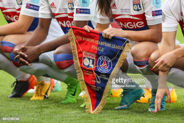 The Lille pennant prior to the UEFA Women's Champions League Final between Lyon and Paris Saint Germain on June 1 2017 in Cardiff Wales